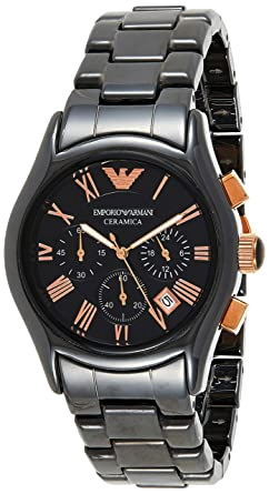 Emporio Armani AR1410 chronograph black dial men's Ceramic wrist watch