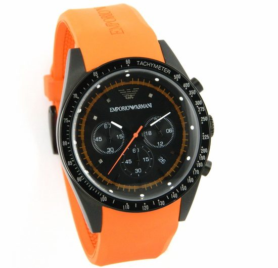 EMPORIO ARMANI AR5987 ORANGE SPORTIVO CHRONOGRAPH SILICONE MEN'S WRIST WATCH