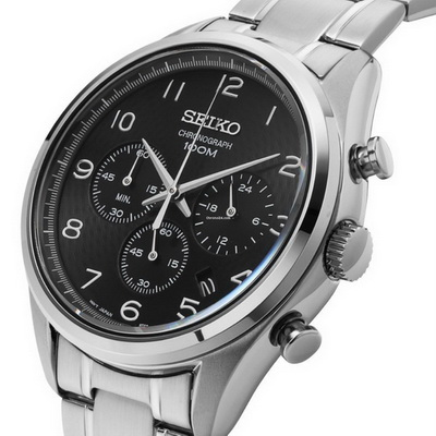 Seiko Chronograph Textured Grey color Dial men's wrist watch with date