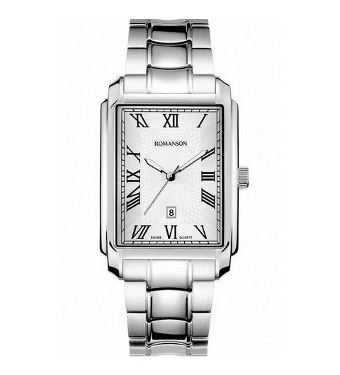 ROMANSON TM8904 men's wrist watch in textured silver dial with date