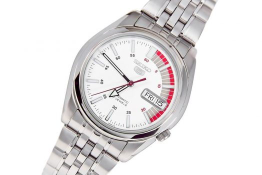 SEIKO SNK369K1 men's wrist watch in white color dial with day in multiple languages and date