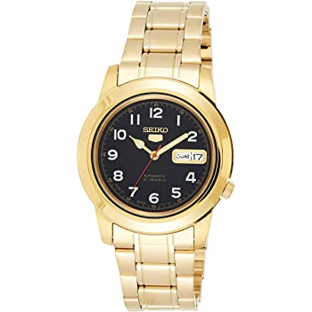 SEIKO 5 black dial men's wrist watch in black dial with day in multiple languages and date golden bracelet & case