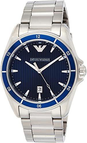Emporio Armani AR 11100 men's wrist watch in textured blue dial with date