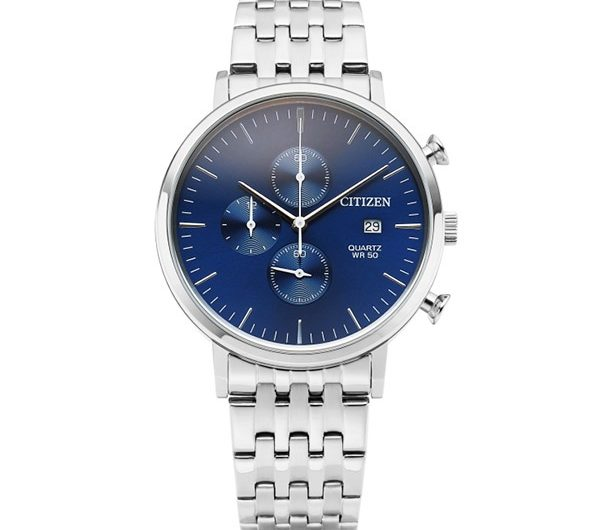 Citizen chronograph AN3610-55L men's wrist watch in Navy blue dila with date