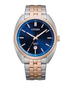 Citizen Bi5096-53L Navy blue dial men's wrist watch with date Two tone bracelet & case