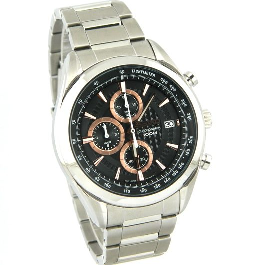 SEIKO SSB199P1 chronograph black textured dial men's wrist watch with date & Tachymeter on edges of dial