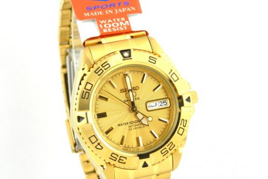SEIKO SNZB26J1 automatic golden dial men's wrist watch with day in multiple languages and date Golden dial, bracelet & case