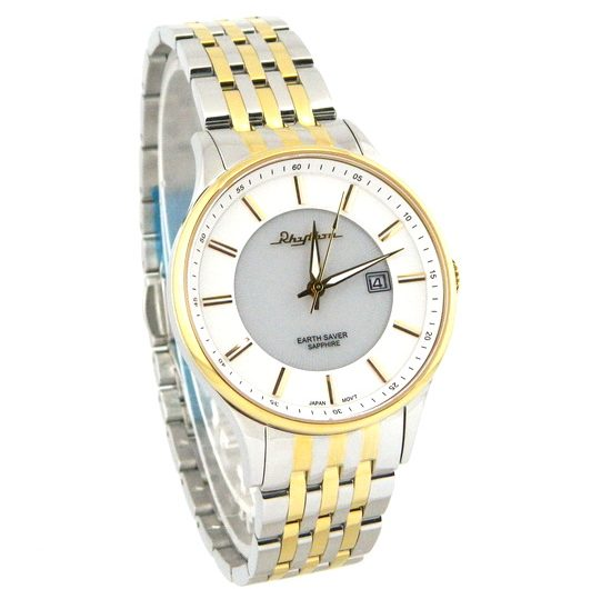 Rhythm earth saver white dial men's wrist watch with date two tone bracelet & case