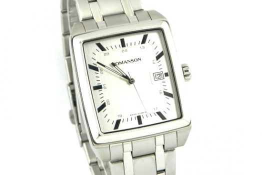 Romanson TM3248.MW.WH men's wrist watch in silver color dial with date