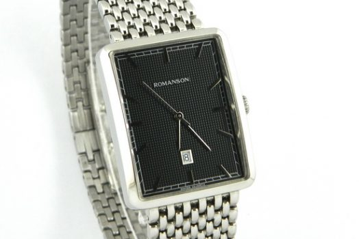 ROMANSON DM5163NBK textured black dial men's wrist watch with date