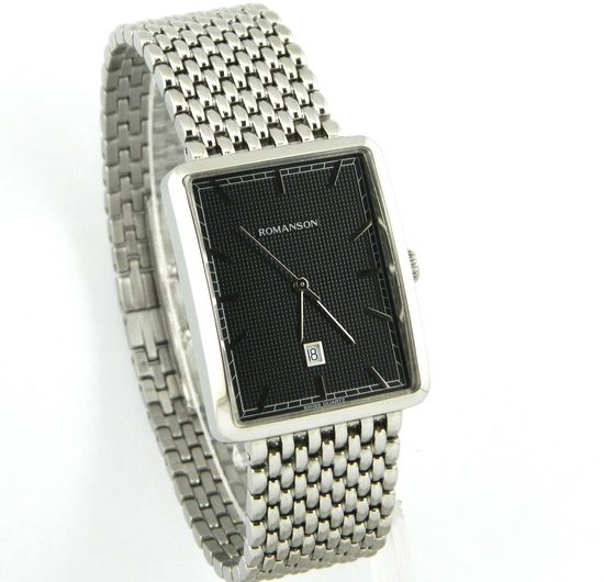 ROMANSON DM5163NBK textured black dial men's wrist watch with date