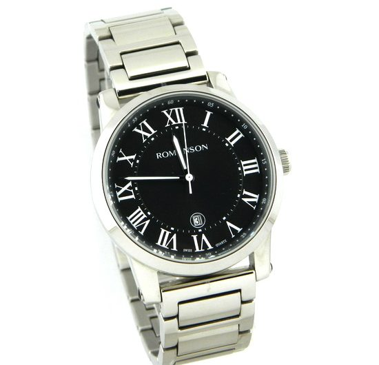 ROMANSON TM0334MM men's wrist watch in black color dial with date