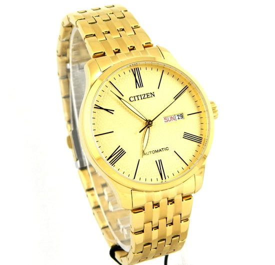 CITIZEN NH8352-53P automatic textured champagne color dial wrist watch for men's with day and date Golden bracelet & case
