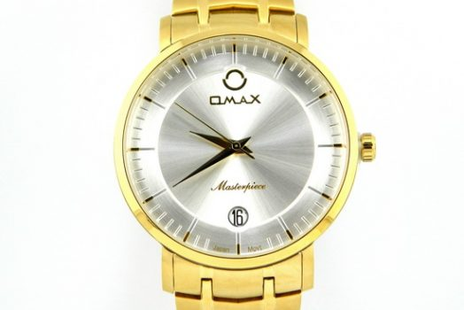 Omax masterpiece silver dial men's wrist watch with date golden bracelet & case