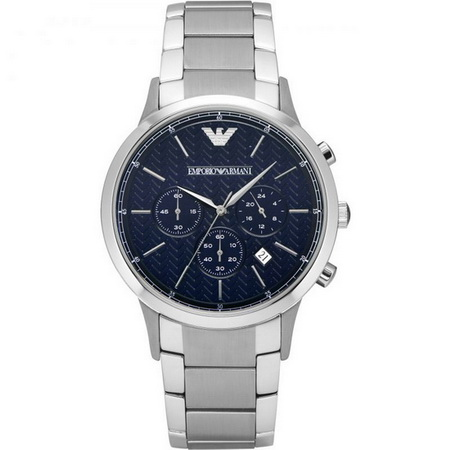 Emporio Armani AR2486 chronograph men's wrist watch in textured blue dial with date