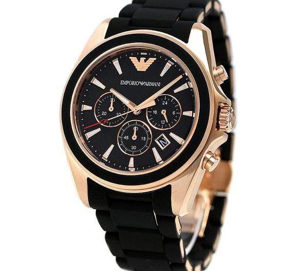 Emporio Armani AR 6066 men's Chronograph wrist watch in black dial with date black fiber & steel bracelet Golden case