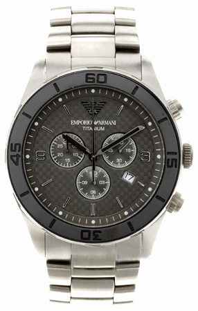Emporio Armani AR9502 Chronograph men's wrist watch in  grey textured dial with date and grey Titanium bracelet & case